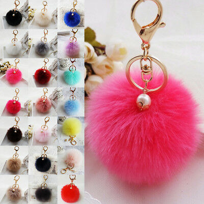 Keyring Soft Fluffy Rabbit Fur HandBag Pendant Ball Pearl Pompom Keychain Cute