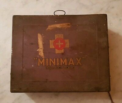 Vintage/antique Minimax tin/metal first aid box decorative storage car bathroom