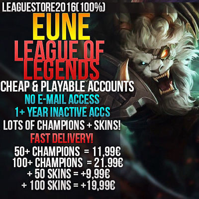 Lol Acc League of Legends Account EUNE NO EMAIL ACCESS Unranked INSTANT DELIVERY