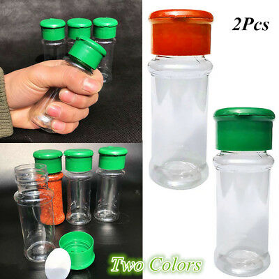 2Pcs Kitchen Plastic Portable Spice Salt Jars Pepper Salt Sugar Shaker Bottle