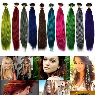 """5/10/20/50 PCS 16"""" Grizzly Synthetic Feathers Hair Extensions 10 Color Choose"""