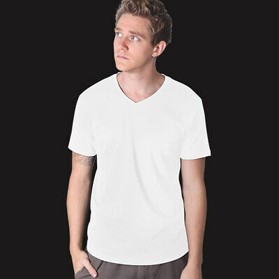 Mens Plain Soft Style Cotton V-Neck T-Shirt Jbs Adult Tee Casual Top Size S-5XL