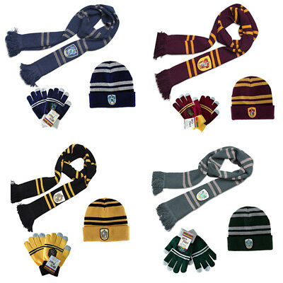 Harry Potter Scarf Kint Hat Touch Glove Gryffindor Slytherin Hufflepuff Raveclaw