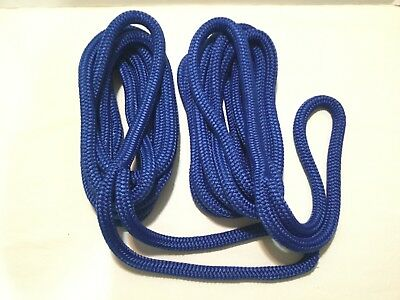 "(2) 5/8"" X 25' Blue Dock Line Double Braid Nylon Rope Made In The Usa"
