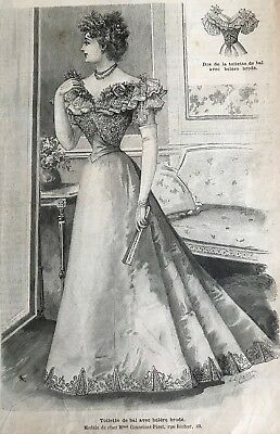French MODE ILLUSTREE SEWING PATTERN Dec 20,1896 4 BALL GOWNS & child clothing !