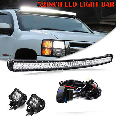 """FIT 89-98 GMC C//K 1500//2500//3500 OFFROAD ROOF 52/""""IN CURVED LED LIGHT BAR COMBO"""