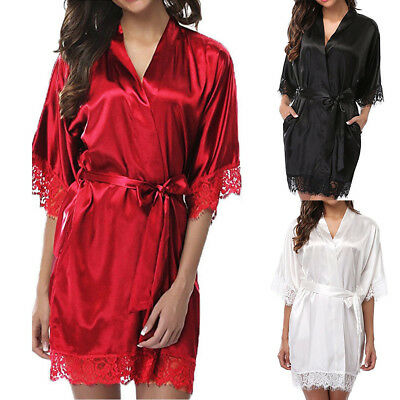 Women Robe Silk Satin Robes Bridal Wedding Bridesmaid Bride Gown Kimono Robe New