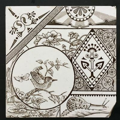 Decorative Art Tile Co - c1881- Fat Bird & Snail- Aesthetic Design Antique Tile