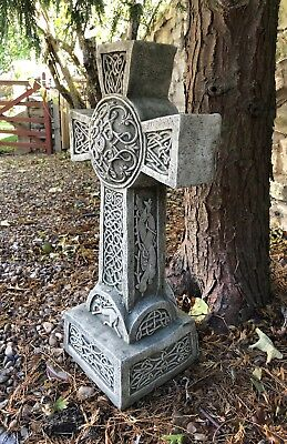Fancy Celtic cross stone garden ornament grave marker memorial statue detailed