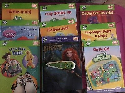 Leap Frog Tag Reading System Lot - 9 Books, 1 Green Reader Pen and USB Cable