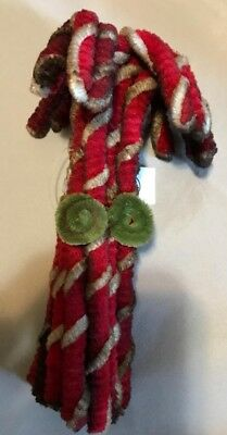 Christmas Primitive Rustic Country Grungy Style Chenille Candy Cane Bundle of 12