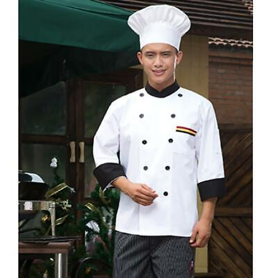 Unisex Double Breasted Cook Suit Long-sleeve Clothes Chef Uniform Coat White