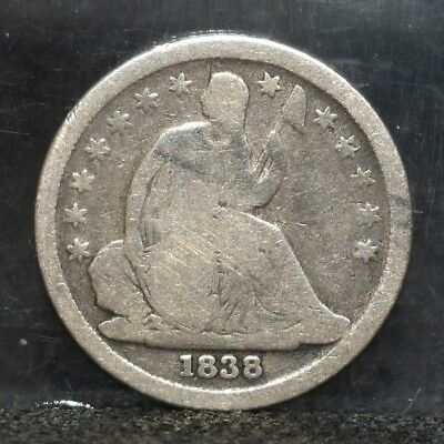 1838 Liberty Seated Dime - Small Stars - Good (#17372)