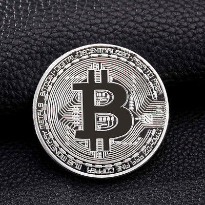 NEW Nice Silver Plated Commemorative Bitcoin Collectible Golden Iron Miner Coin