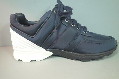 CHANEL 39.5 Navy Nylon White Leather Lace Up Sneakers Tennis Shoes Trainers  NEW d9bf676593b