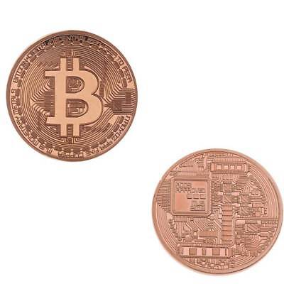 Coin Gift Rose Gold BTC Plated Bitcoin Coin Collectible Art Collection Physical
