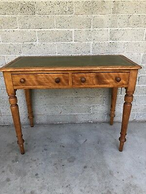 18th CENTURY DESK LEATHER TOP WRITING TABLE EARLY AMERICAN ANTIQUE COLONIAL RARE