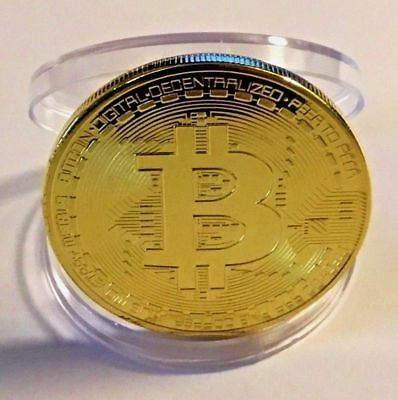 Gold BITCOIN!! Plated Physical Bitcoin in protective acrylic case HOT SELLING!!