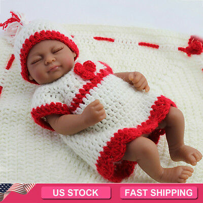 "10"" African American Baby Dolls Lifelike Sleeping Full Vinyl Silicone Girl Doll"