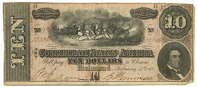 February 17, 1864 $10 Confederate States of America T-68 Seventh Issue 13386