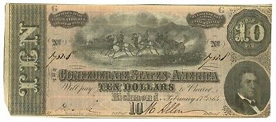 February 17, 1864 $10 Confederate States of America T-68 Seventh Issue 14328