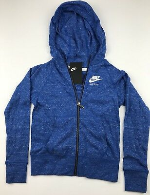 Nike Youth Big Kids Medium Gym Vintage Blue Jay Sail Full Zip Hoodie Retro