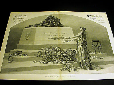 Alfred Fredericks DECORATION DAY Civil War Monument Tombstone 1888 Large Print