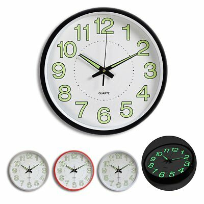 """12"""" Retro Clock Wall  Glow In The Dark Diner Vintage Home Office Dining Room UK"""