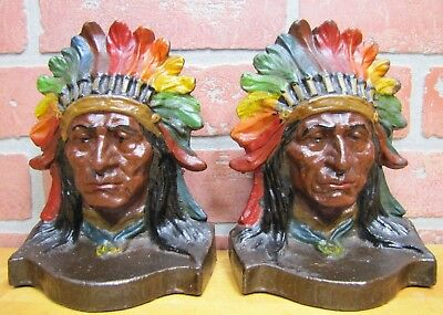 Antique NATIVE AMERICAN INDIAN SITTING BULL Bookends Exquisite Detail Paint