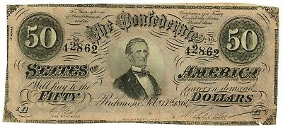 February 17, 1864 $50 Confederate States of America T-66 Seventh Issue 42862