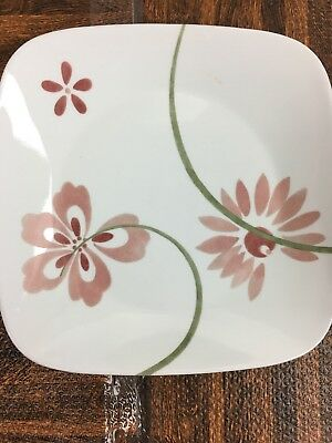 """CORELLE VITRELLE SQUARE PRETTY PINK SET OF 3 DINNER PLATES 10 1/2"""" Mod Abstract"""