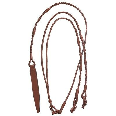 Tough-1 Royal King Braided Leather Weighted Show Rounded Romel Reins - 7'