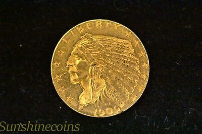 1909 Gold 2 1/2 Dollar Quarter Eagle Indian + Free Shipping **l@@k!