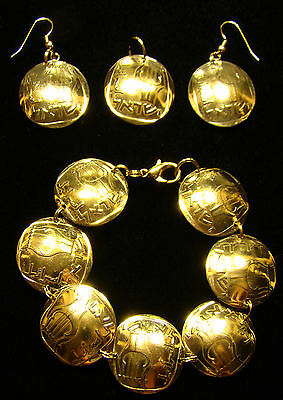 3-Stringed Lyre-Harp BRACELET EARRINGS of Israeli 25 Agorot Agora coins JEWELRY