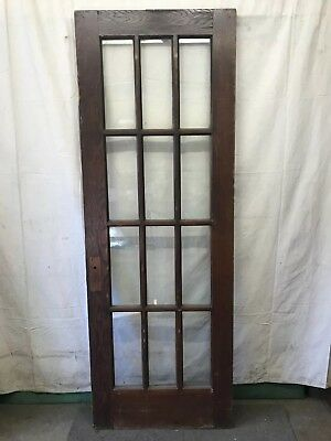 Wood 12 Lite Glass Reclaimed Salvaged Door Architectural Vintage 30x84