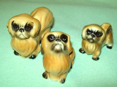 3 piece PEKINGESE dog figurine SET Doll house Miniature LOOK AT THESE FACES !
