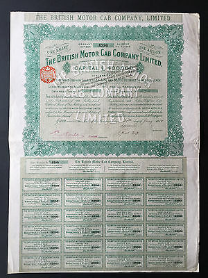 The British Motor Cab Company Limited. 1910 Historical Stock (Aktie)