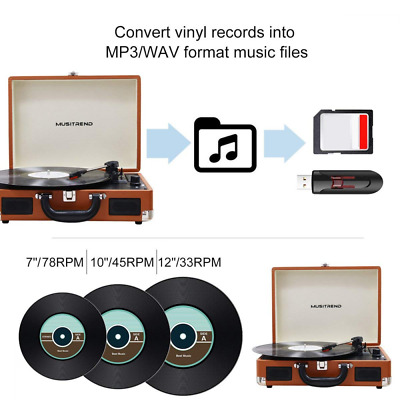 Bluetooth Record Player Portable Suitcase Turntable with Built-in Speakers HOT