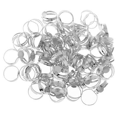 100x Adjustable Ring Base Round Bezel Charms Setting Blanks Findings Silver