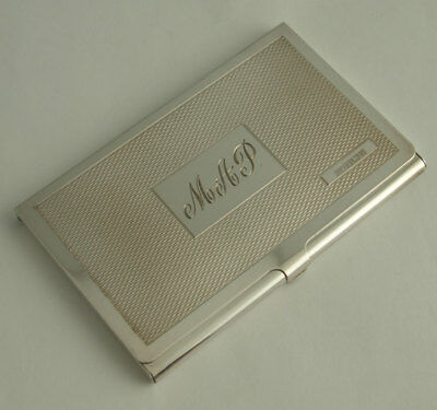 Stylish Contemporary Solid Silver Card Case - Birm. 1994