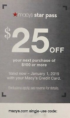Macy's STAR PASS $25 OFF $100 or more