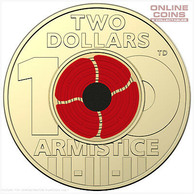 2018 REMEMBRANCE DAY ARMISTICE CENTENARY $2 COLOURED COIN in Uncirculated Grade