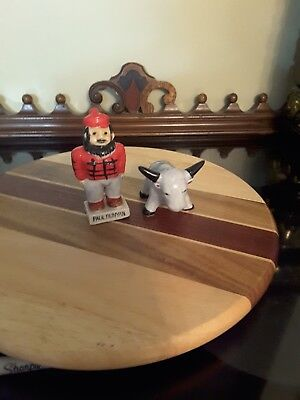 Salt & Pepper Shakers - Paul Bunyan and Babe the Blue Ox