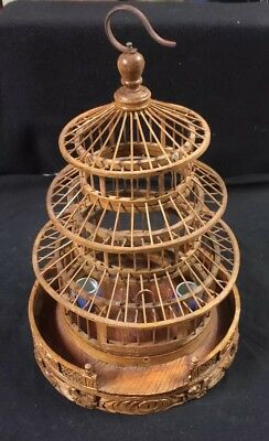 VIntage Carved Wood Dragon Telescopic Asian Bird Cage Porcelain Feeders