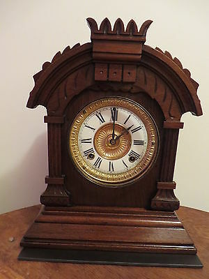 ..Antique Ansonia Mechanical Brass Movement 8 Day Tunis Mantel Clock, c1882