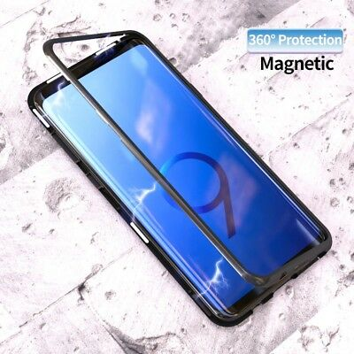 Luxury Magnet Metal Tempered Glass Case Cover For Samsung Galaxy S8 S9 + Note 9