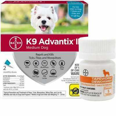 2 MONTH K9 Advantix II TEAL for Medium Dogs (11-20 lbs) + Tapeworm Dewormer for