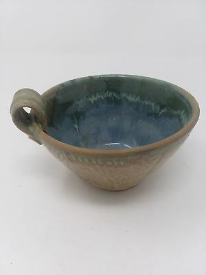 Earthy Hand Made Stoneware Pottery Bowl Cup Tan Green Blue Glaze Glossy