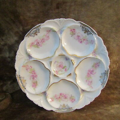 Antique Theodore Haviland Pink Floral W/Gold Trim Oyster Plate/EXCELLENT!
