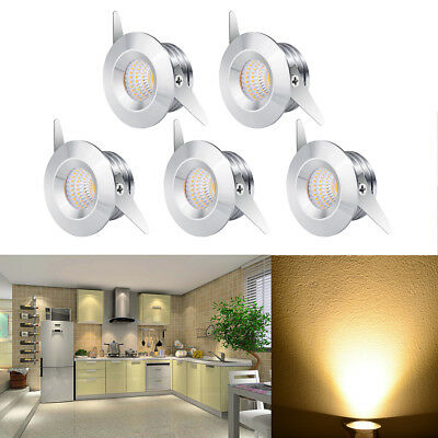 5Pcs 3W Indoor Ceiling Light  LED Recessed Small Cabinet Mini Spot Lamp Lighting